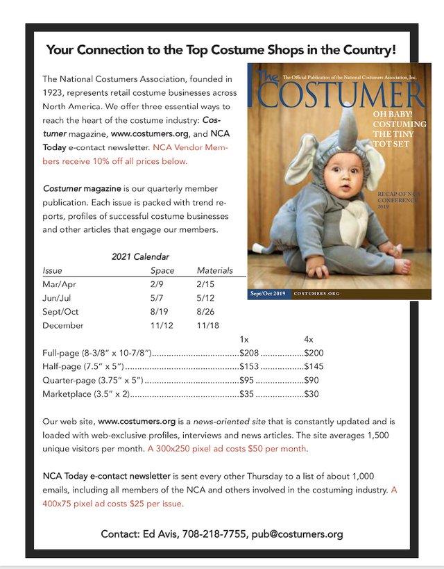 NCA Costumer 2021 Media Kit